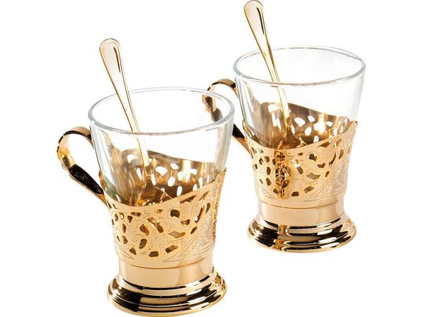 Набор для чая Chinelli на 6 персон, прозрачный, золотой - фото № 1