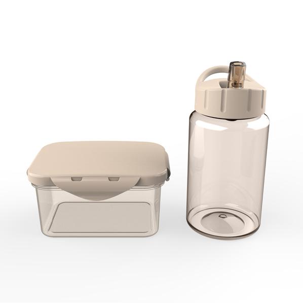 Набор для детей: контейнер для ланча, бутылка для воды 0,45 мл, бежевый - фото № 1