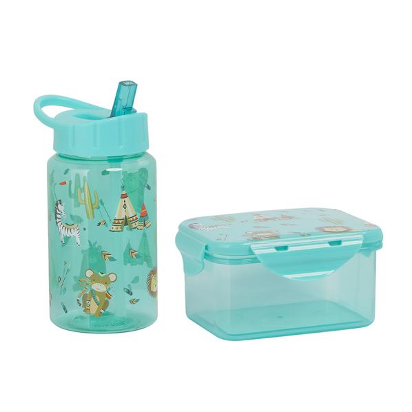 Набор для детей (контейнер для ланча, бутылка для воды, 0,45мл), зеленый - фото № 1