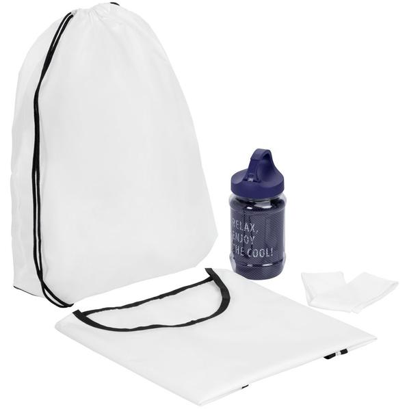 Набор для фитнеса Cool Fit: полотенце, манишка Member, спортивная повязка на голову Cool Head, белый/ филетовый - фото № 1
