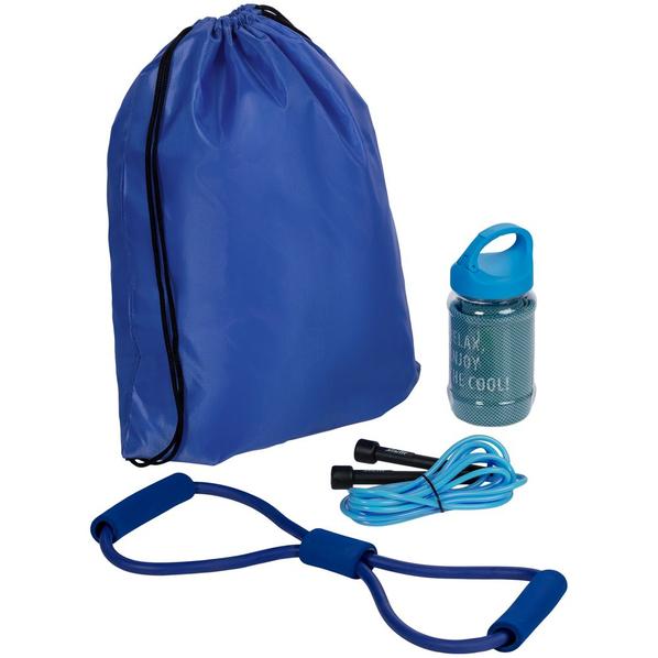 Набор для фитнеса Gym Team: эспандер, полотенце, скакалка, синий - фото № 1