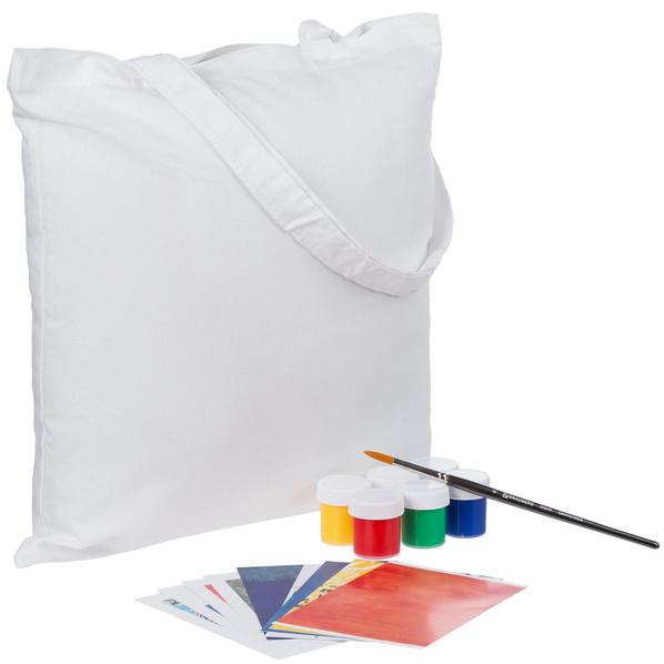 Набор для рисования «Я тоже так могу»: сумка холщовая Countryside, краски для ткани, кисть Classic, белый - фото № 1