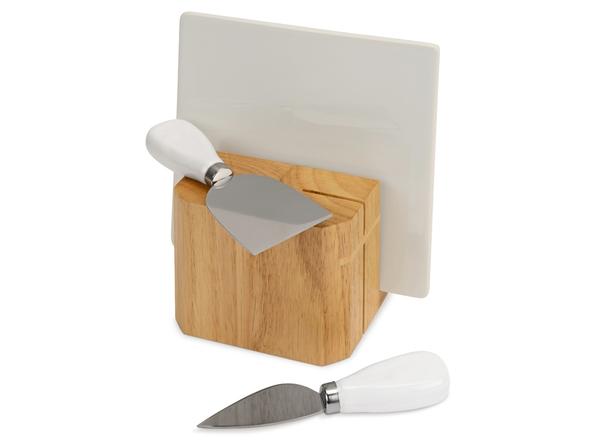 Набор для сыра Eat & Bite Cheese Break, 3 предмета, белый / светлое дерево - фото № 1
