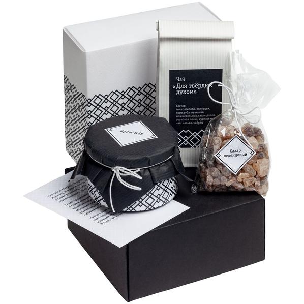 Набор «Для твердых духом»: чай, черный крем-мед с алтайским мумиё, леденцовый сахар, открытка, черный/ белый - фото № 1