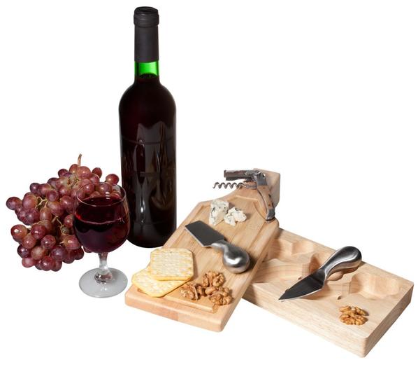 Набор для вина и сыра Эдам, серебристый / крафт - фото № 1