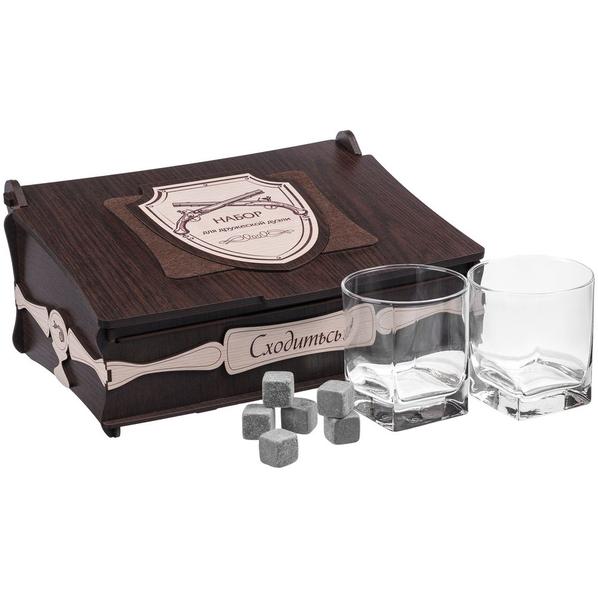 Набор для виски «Дружеская дуэль»: стаканы для виски, охлаждающие камни, коричневый / прозрачный - фото № 1