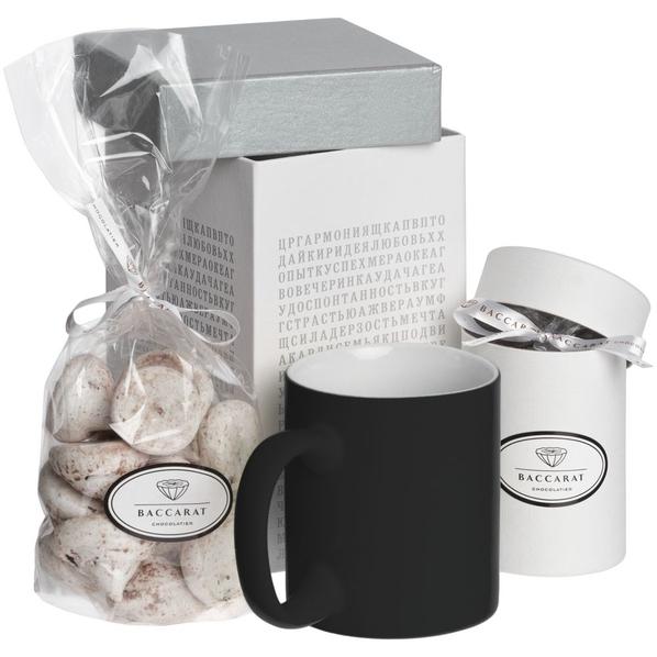 Набор Генератор пожеланий: кружка Sippy, горячий шоколад, меренги, коробка с генератором пожеланий, белый/ черный - фото № 1