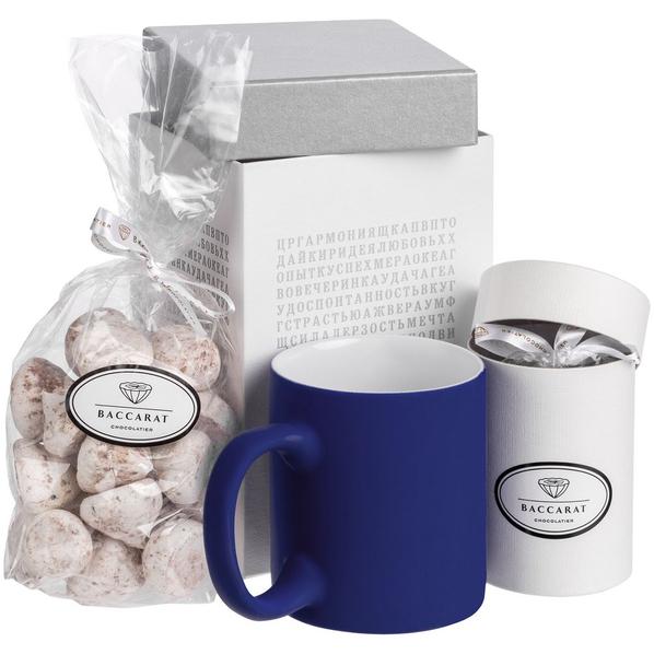 Набор Генератор пожеланий: кружка Sippy, шоколадные дропсы, меренги Baiser, коробка с генератором пожеланий, синий/ белый - фото № 1