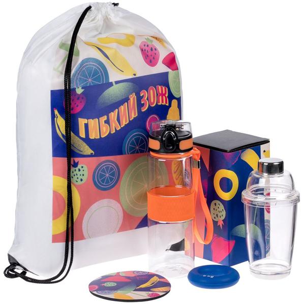 Набор «Гибкий ЗОЖ»: рюкзак, бутылка для воды Fata Morgana, шейкер для коктейлей, эспандер кистевой Hardy, костер, оранжевый / синий - фото № 1