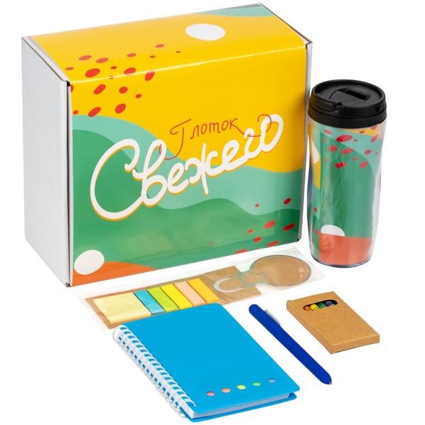 Набор «Глоток свежего»: блокнот Stick, стакан, набор восковых мелков, ручка шариковая Slider Soft Touch, закладка со стикерами, синий - фото № 1