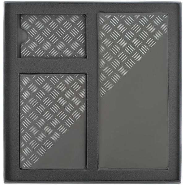 Набор Hard Work: дорожный органайзер, обложка для паспорта, чехол для карточки, серый - фото № 1
