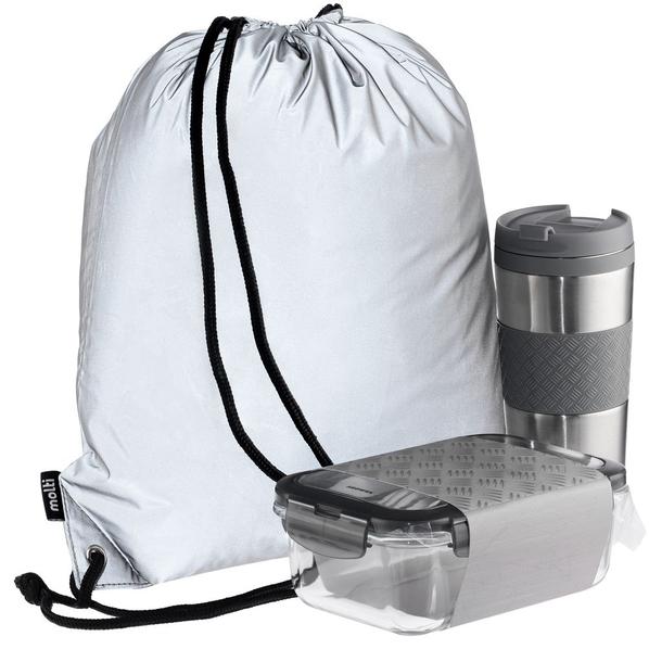 Набор Hard Work Taste It Easy: термостакан, ланч-бокс, рюкзак Manifest, серебристый - фото № 1