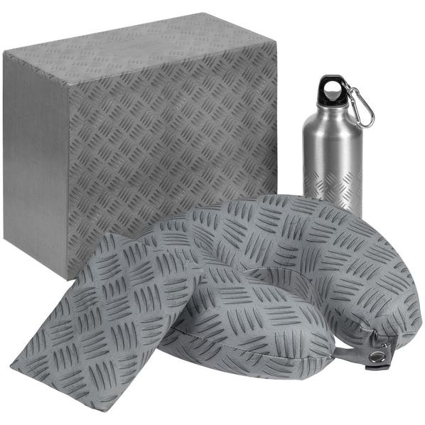 Набор Hard Work Travel: подушка дорожная, бутылка для спорта, чехол для чемодана, серый - фото № 1
