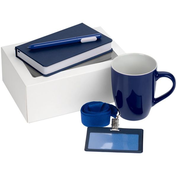 Набор Hop In: блокнот Freenote Wide, кружка Good Morning, чехол для карточки Apache, лента для бейджа Neckband, ручка шариковая Slider, синий - фото № 1