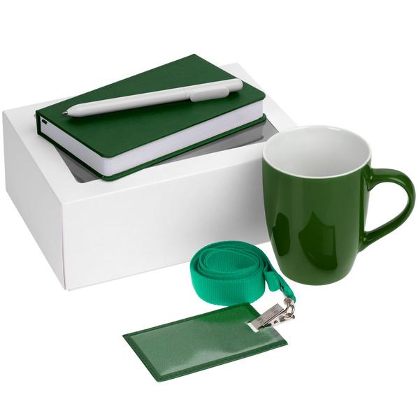 Набор Hop In: блокнот Freenote Wide, кружка Good Morning, чехол для карточки Apache, лента для бейджа Neckband, ручка шариковая Slider, зеленый - фото № 1