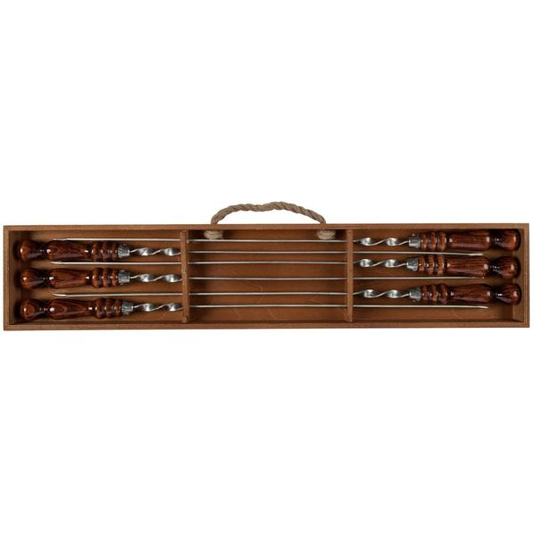 Набор из 6 шампуров в подвесном пенале Roast Coast, коричневый / серебряный - фото № 1