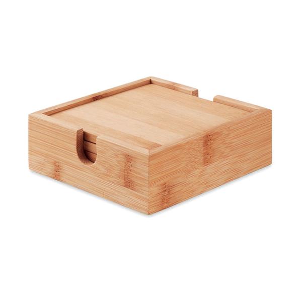 Набор: 4 костера из бамбука, бежевый - фото № 1