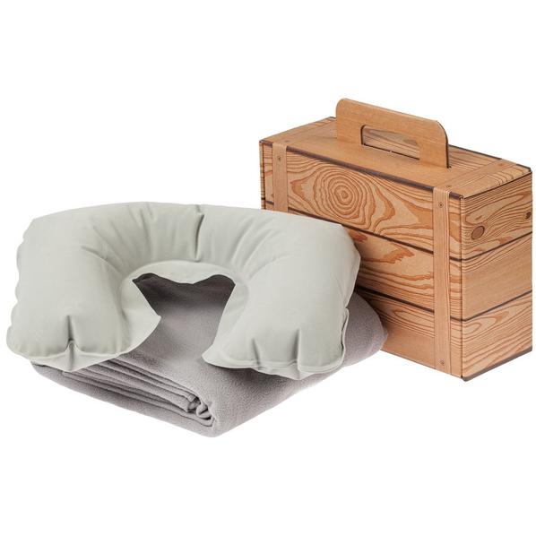 Набор Layback: надувная подушка под шею Sleep, флисовый плед Warm&Peace, серый - фото № 1