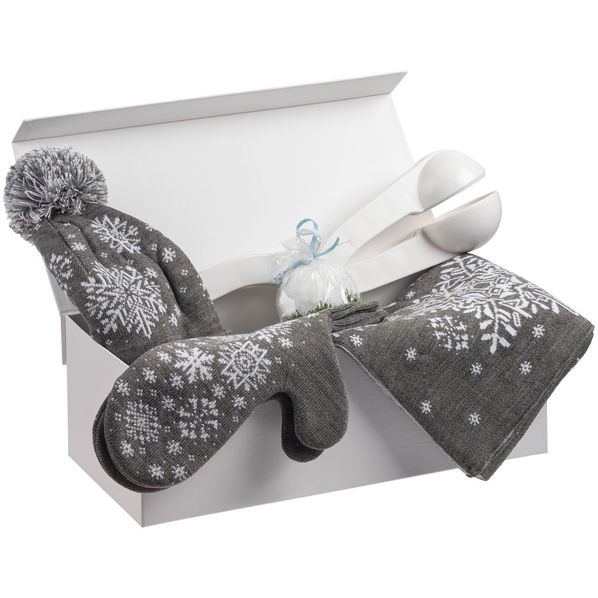 Набор Let It Snow: снежколеп, шапка, шарф, варежки, свеча, белый - фото № 1