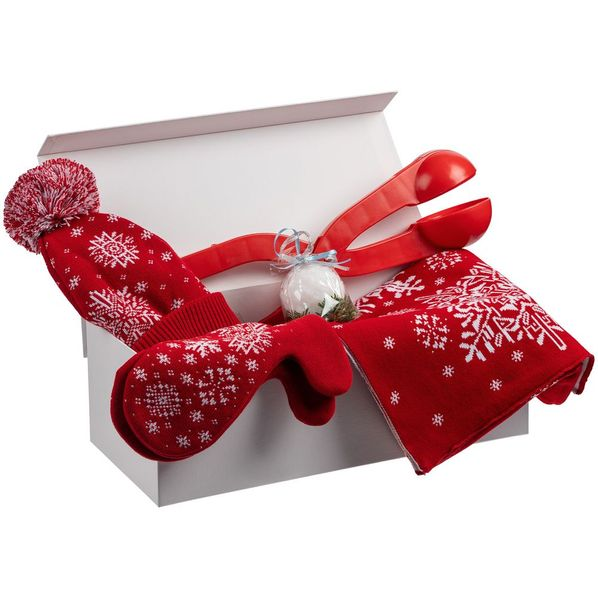 Набор Let It Snow: снежколеп, варежки, шарф, шапка, свеча, красный - фото № 1