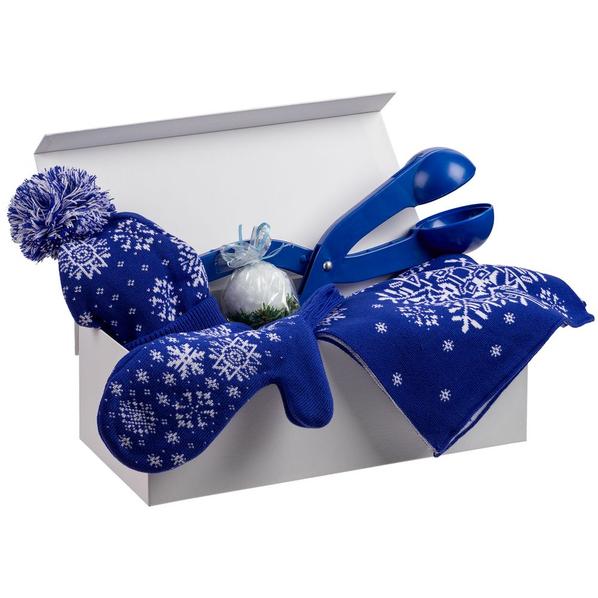 Набор Let It Snow: снежколеп, шапка, шарф, варежки, свеча, синий - фото № 1