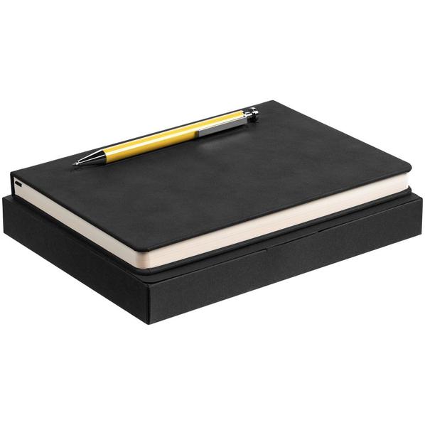 Набор Magnet: ежедневник Magnet, ручка шариковая Attribute, черный / желтый - фото № 1