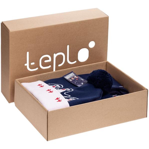 Набор teplo Merry Fellow: джемпер, шапка, шарф, варежки, синий/ белый - фото № 1