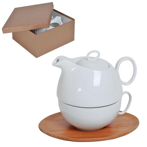 Набор Мила: чайник и чайная пара в подарочной упаковке, белый, коричневый - фото № 1