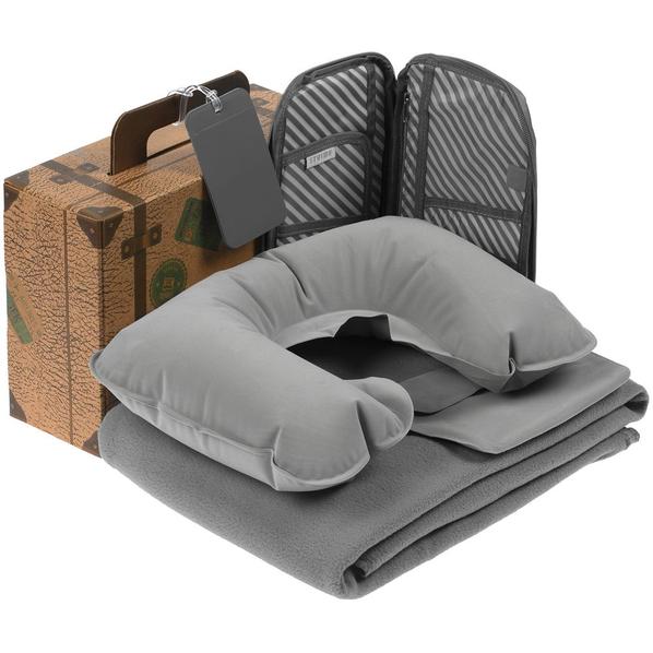 Набор My Way ver.2: флисовый плед Warm&Peace, органайзер для путешествий Dundee, надувная подушка под шею Sleep, багажная бирка Dorset, серый - фото № 1