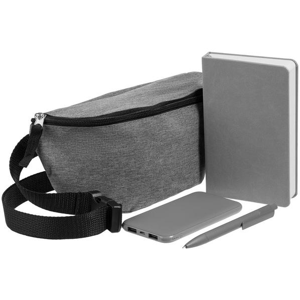 Набор Need Deed: блокнот Freenote Wide, аккумулятор markBright Town 5000 мАч, ручка Prodir DS4 PMM-P, серый - фото № 1