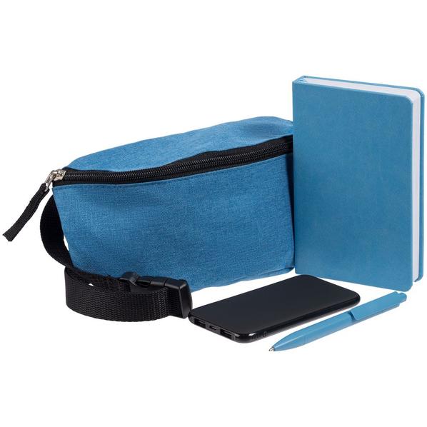Набор Need Deed: сумка поясная, блокнот Freenote Wide, аккумулятор markBright Town, 5000 мАч, ручка Prodir DS4 PMM-P, голубой/ черный - фото № 1