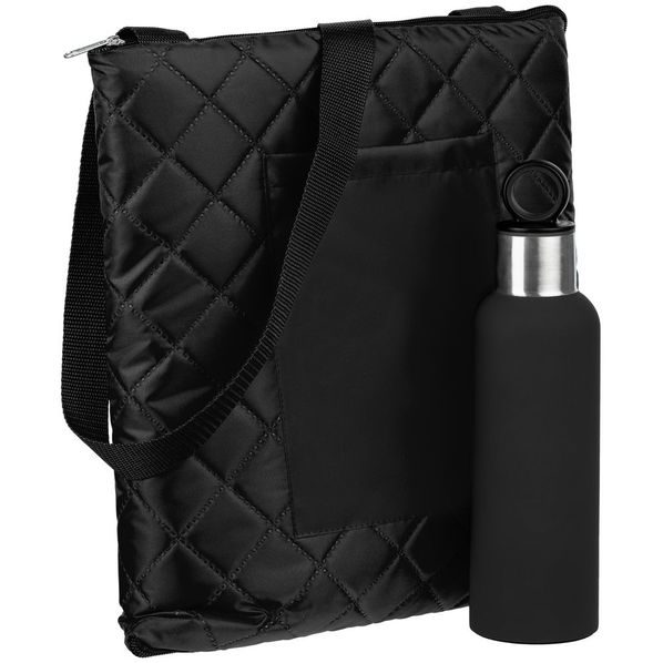 Набор Nest Rest: плед для пикника Soft&Dry, термобутылка Sherp, черный - фото № 1