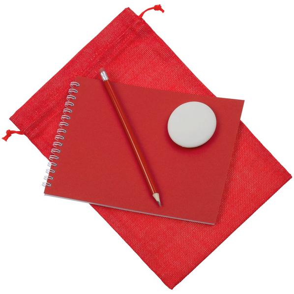 Набор Nettuno Maxi: блокнот, карандаш простой, ластик, красный - фото № 1