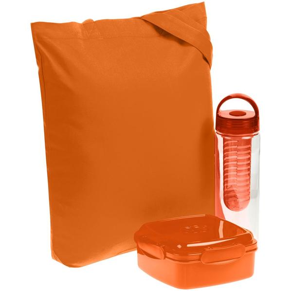 Набор Nibble: бутылка для воды и ланч-бокс в холщовой сумке, оранжевый - фото № 1