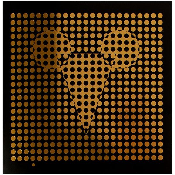 Открытка в конверте Optical Mouse, черная / золотая - фото № 1