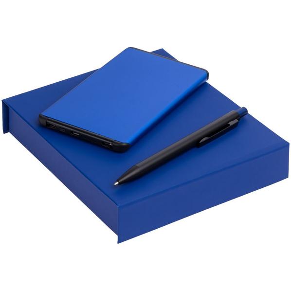 Набор Orbis: внешний аккумулятор Double Reel 5000 mAh, ручка шариковая Chromatic, синий - фото № 1