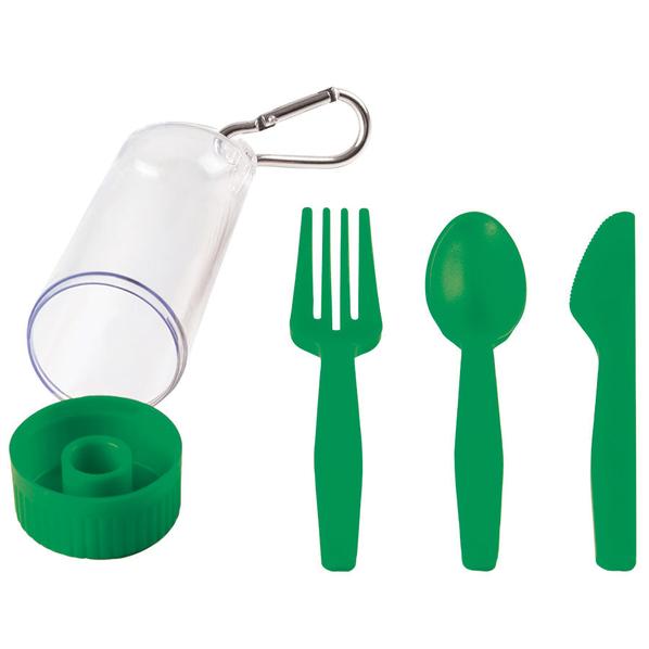 Набор Pocket: ложка,вилка,нож в футляре с карабином, зеленый - фото № 1