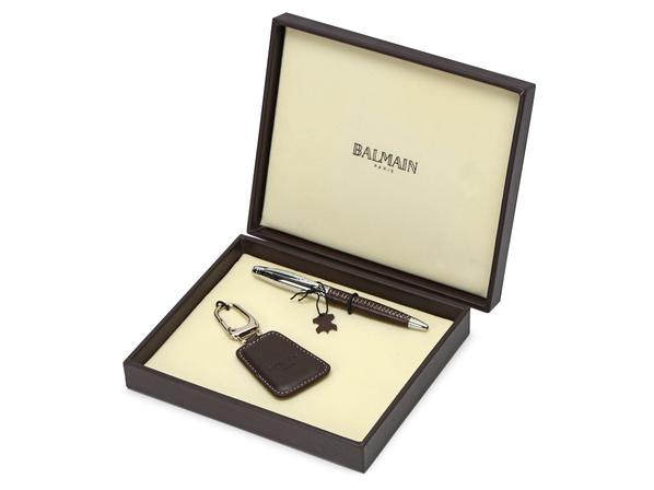 Набор подарочный Balmain Millau: ручка шариковая, брелок, коричневый - фото № 1