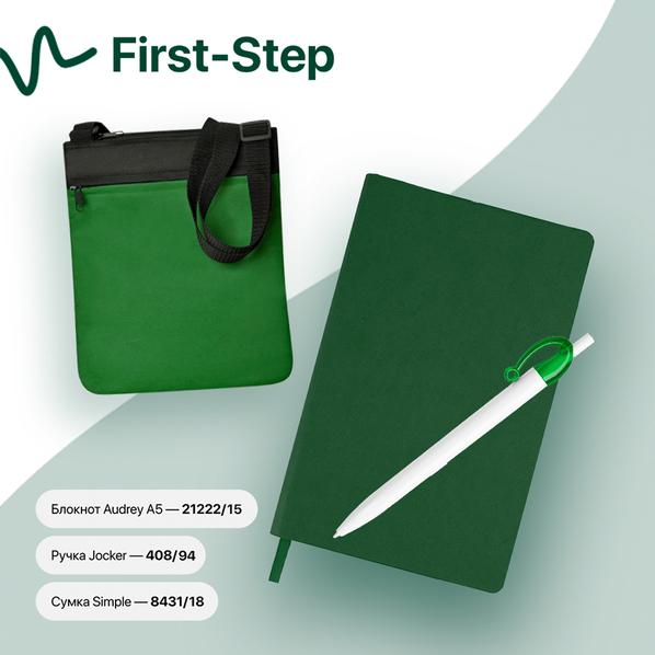 Набор подарочный First-Step: бизнес-блокнот, ручка, сумка, зеленый - фото № 1