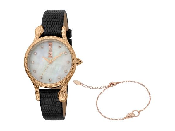 Набор подарочный Just Cavalli: часы наручные женские, браслет, черный / золотой - фото № 1