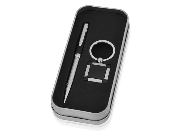 Набор подарочный Классика: ручка, брелок, черный/ серебристый - фото № 1