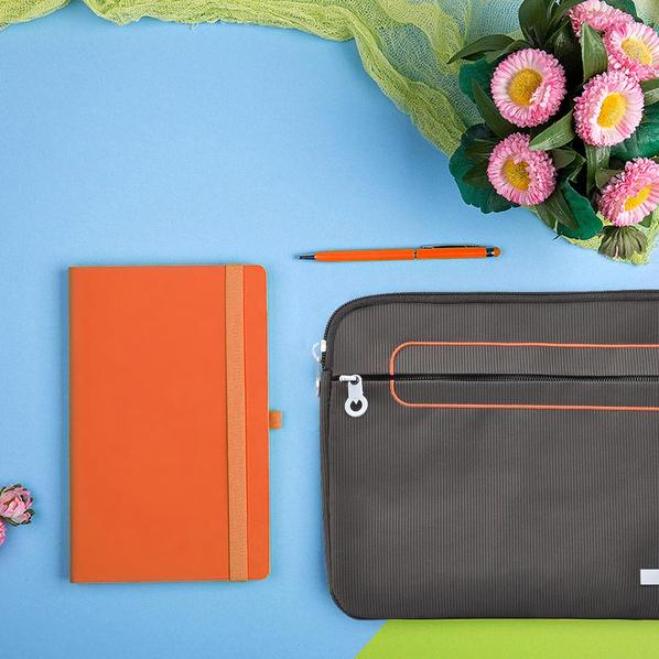 Набор подарочный Level Up: бизнес-блокнот, ручка, чехол для планшета, оранжевый/серый