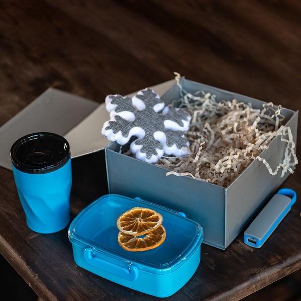 Набор подарочный Luckyfoods: ланчбокс, термокружка, внешний аккумулятор 2200 мАч, новогоднее украшение, голубой - фото № 1