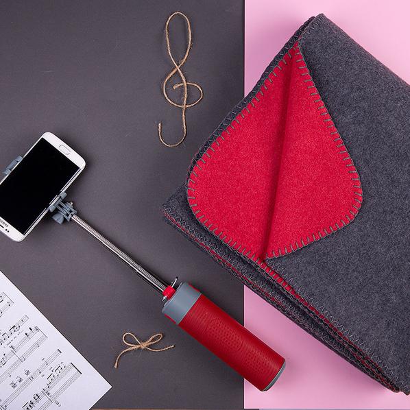 Набор подарочный Mild Jingle: плед, колонка с зарядным устройством и моноподом, красный - фото № 1