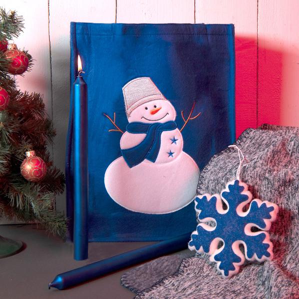 Набор подарочный Newspirit: сумка, свечи, плед, украшение, синий - фото № 1