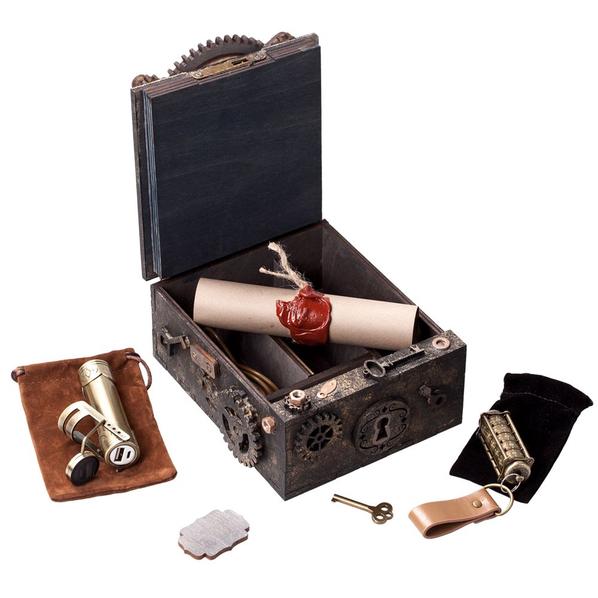 Набор подарочный Скрытые резервы: шкатулка-головоломка большая, внешний аккумулятор 3000 мАч, флешка Криптекс 32 Гб, коричневый - фото № 1