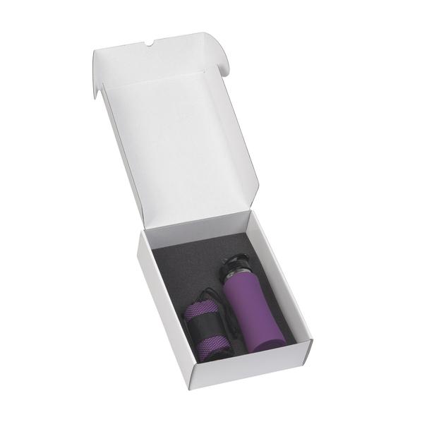 """Набор подарочный: спортивная бутылка """"Индиана"""" 0,6 л., полотенце для фитнеса """"Тонус"""", фиолетовый - фото № 1"""