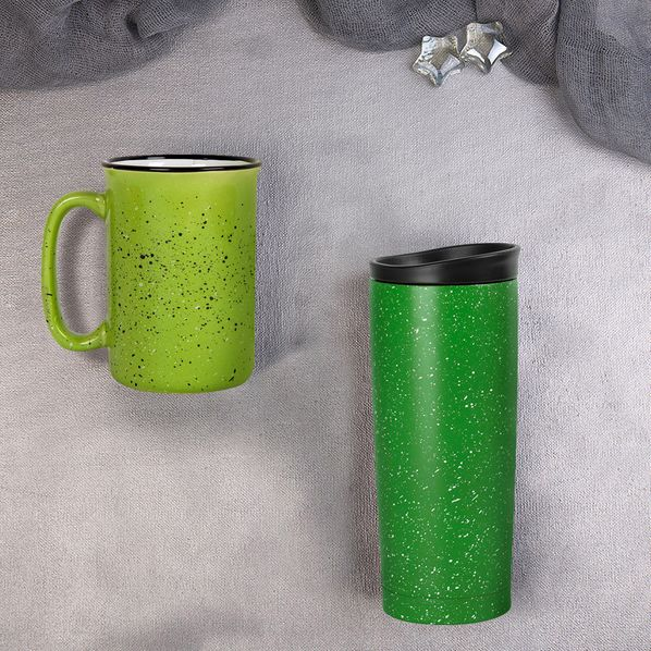 Набор подарочный Starlight: термокружка, кружка, ярко-зеленый - фото № 1