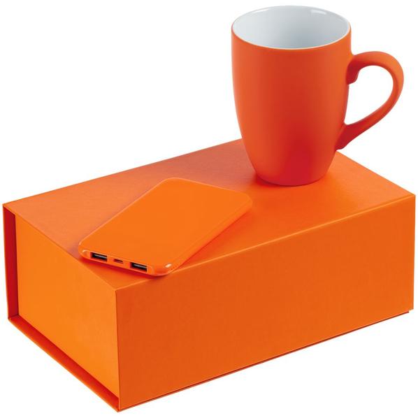 Набор Powerhouse: внешний аккумулятор Uniscend Half Day Compact 5000 mAh, кружка Best Morning c покрытием софт-тач, ярко оранжевый