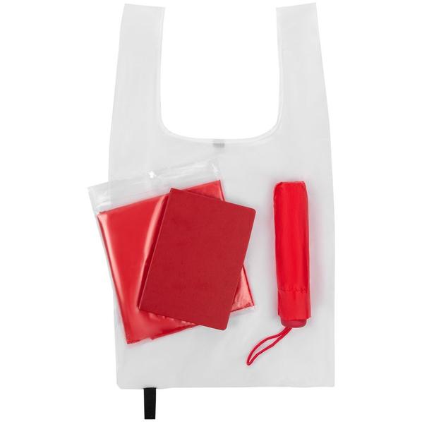 Набор Raining Day: зонт складной Unit Basic, ежедневник New Brand, складная сумка Packins, дождевик CloudTime, красный / белый - фото № 1